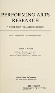 Cover of: Performing arts research | Marion K. Whalon