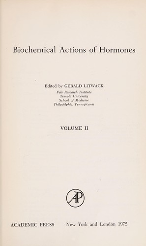 Biochemical Actions of Hormones by Gerald Litwack