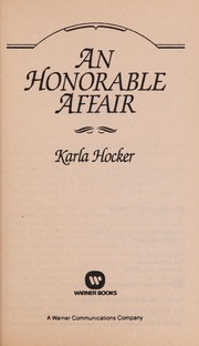 Cover of: An Honorable Affair