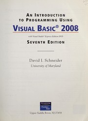 Cover of: An introduction to programming using Visual Basic 2008