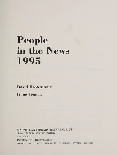 People in the News 1995 (People in the News) by David Brownstone