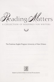 Cover of: Reading matters | University of New Orleans