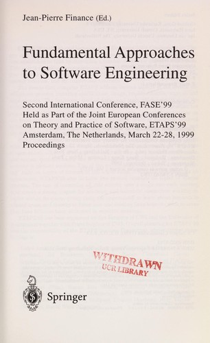 Fundamental approaches to software engineering by FASE'99 (1999 Amsterdam, Netherlands)