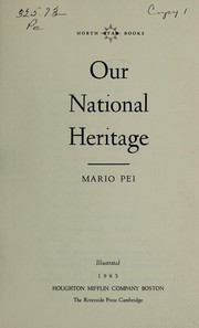 Cover of: Our national heritage