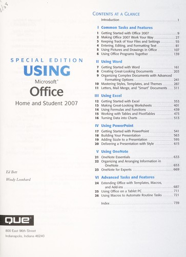 Special edition using Microsoft Office 2007, home and student edition by Ed Bott