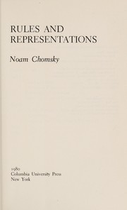 Cover of: Rules and representations
