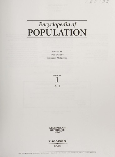 Encyclopedia of population by edited by Paul Demeny, Geoffrey McNicoll