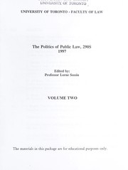 Cover of: The politics of public law, 290S | Lorne Mitchell Sossin