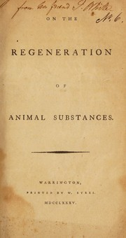 Cover of: On the regeneration of animal substances