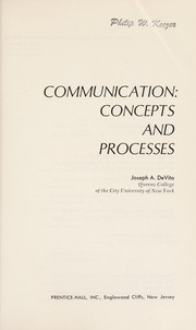Cover of: Communication: concepts and processes