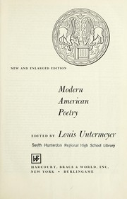 Cover of: Modern American poetry | Louis Untermeyer