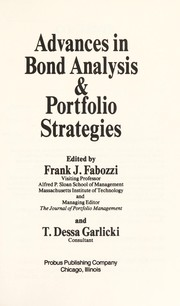 Cover of: Advances in Bond Analysis & Portfolio Strategies | Frank J. Fabozzi