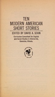 Cover of: Ten modern American short stories | David A. Sohn