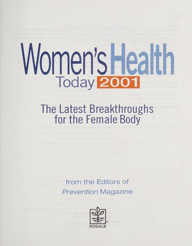 Prevention Women's Health Today 2001 by