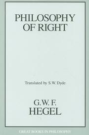 Cover of: Philosophy of Right (Great Books in Philosophy)