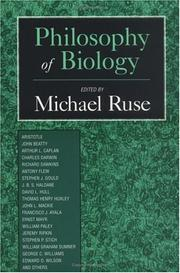 Cover of: Philosophy of biology