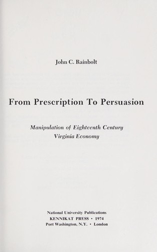 From prescription to persuasion by John C. Rainbolt