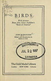 "Cover of: Birds, with pictures from John James Audobon's [!] ""Birds of America"""
