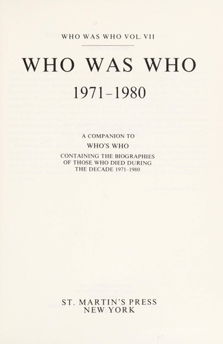 Who Was Who 1971 1980 by M. Wallace