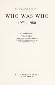 Cover of: Who Was Who 1971 1980 | M. Wallace