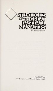 Cover of: Strategies of the great baseball managers