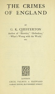 Cover of: The crimes of England | G. K. Chesterton
