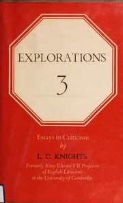 Cover of: Explorations 3 | L. C. Knights