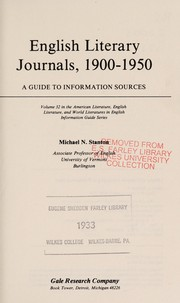 Cover of: English literary journals, 1900-1950 | Michael N. Stanton