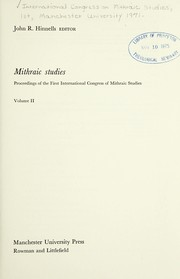 Cover of: Mithraic studies | International Congress of Mithraic Studies Manchester University 1971.