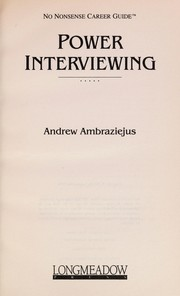 Cover of: Power Interviewing (No Nonsense Career Guide)