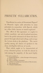 Cover of: Phonetic syllabication | Alexander Melville Bell