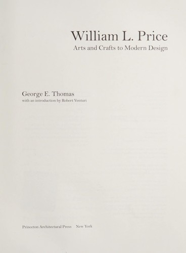William L. Price : arts and crafts to modern design by