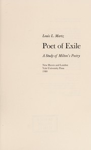 Cover of: Poet of exile | Louis Lohr Martz