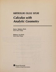 Cover of: Calculus with analytic geometry