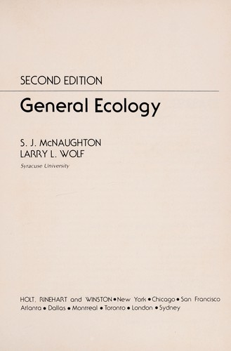 General ecology by S. J. McNaughton