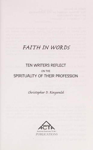 Faith in words by Christopher D. Ringwald