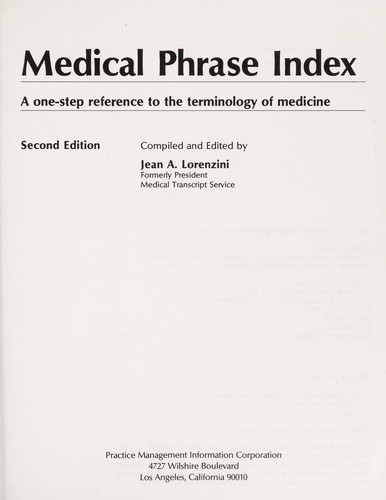 Medical phrase index by Jean A. Lorenzini