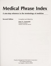 Cover of: Medical phrase index | Jean A. Lorenzini