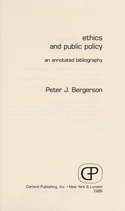 Cover of: Ethics and public policy | Peter J. Bergerson