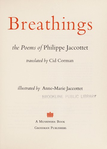 Breathings by Philippe Jaccottet
