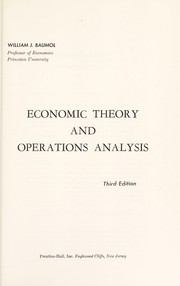 Cover of: Economic theory and operations analysis