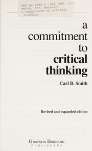 Cover of: A commitment to critical thinking | Carl Bernard Smith