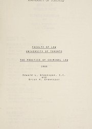 Cover of: The practice of criminal law | Edward L. Greenspan
