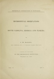 Cover of: Microscopical observations made in South Carolina, Georgia, and Florida | Jacob Whitman Bailey