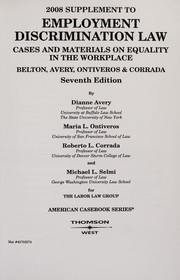 Cover of: 2008 Supplement to employment discrimination law | Dianne Avery