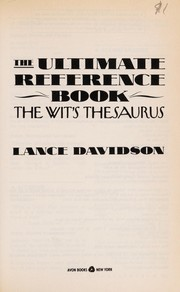 Cover of: The ultimate reference book | Lance Davidson