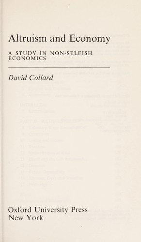 Altruism and economy by David A. Collard