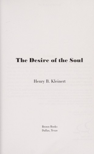The desire of the soul by Henry B. Kleinert