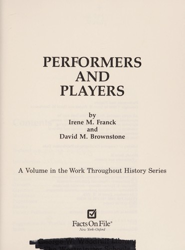 Performers and players by Irene M. Franck