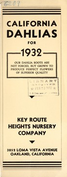Cover of: California dahlias for 1932 | Key Route Heights Nursery Co